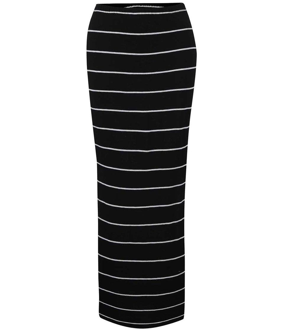 Černo-bílá pruhovaná sukně s rozparky ONLY Abbie