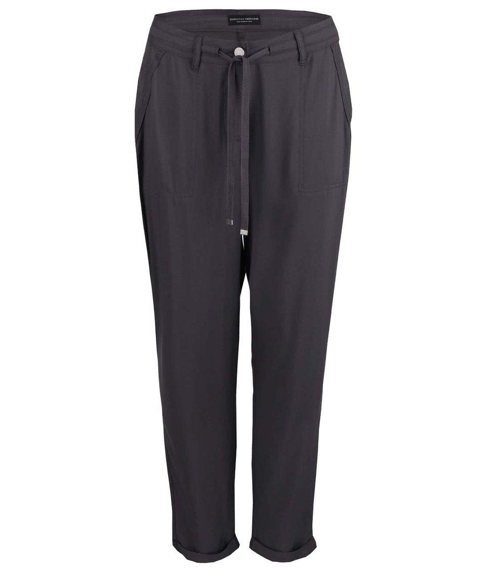 Šedé volnější kalhoty Dorothy Perkins