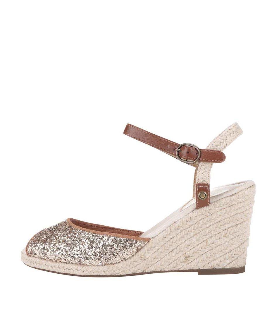 Dámské sandálky na klínku ve zlaté barvě Pepe Jeans
