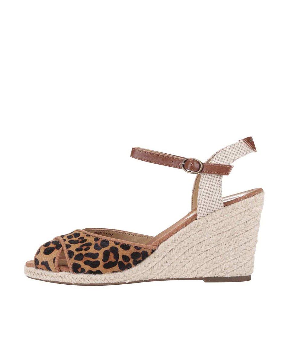 Hnědé dámské sandálky se vzorem na klínku Pepe Jeans