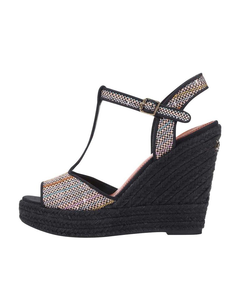 Černé dámské sandálky s flitry na platformě a klínku Pepe Jeans