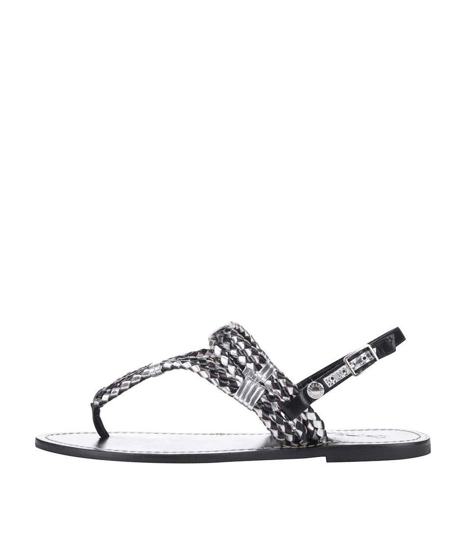 Černé dámské zdobené kožené sandálky Pepe Jeans