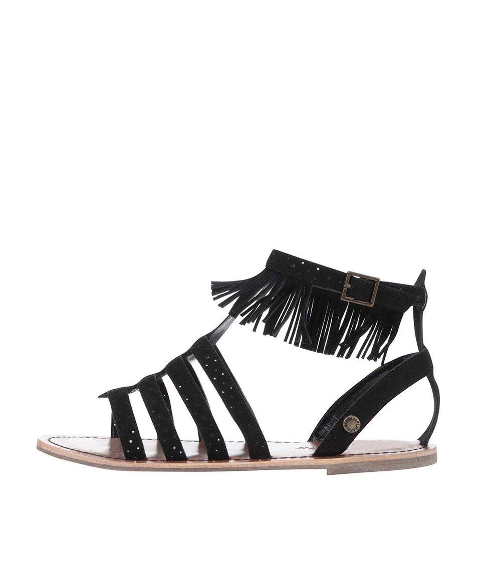 Černé dámské semišové sandálky s třásněmi Pepe Jeans