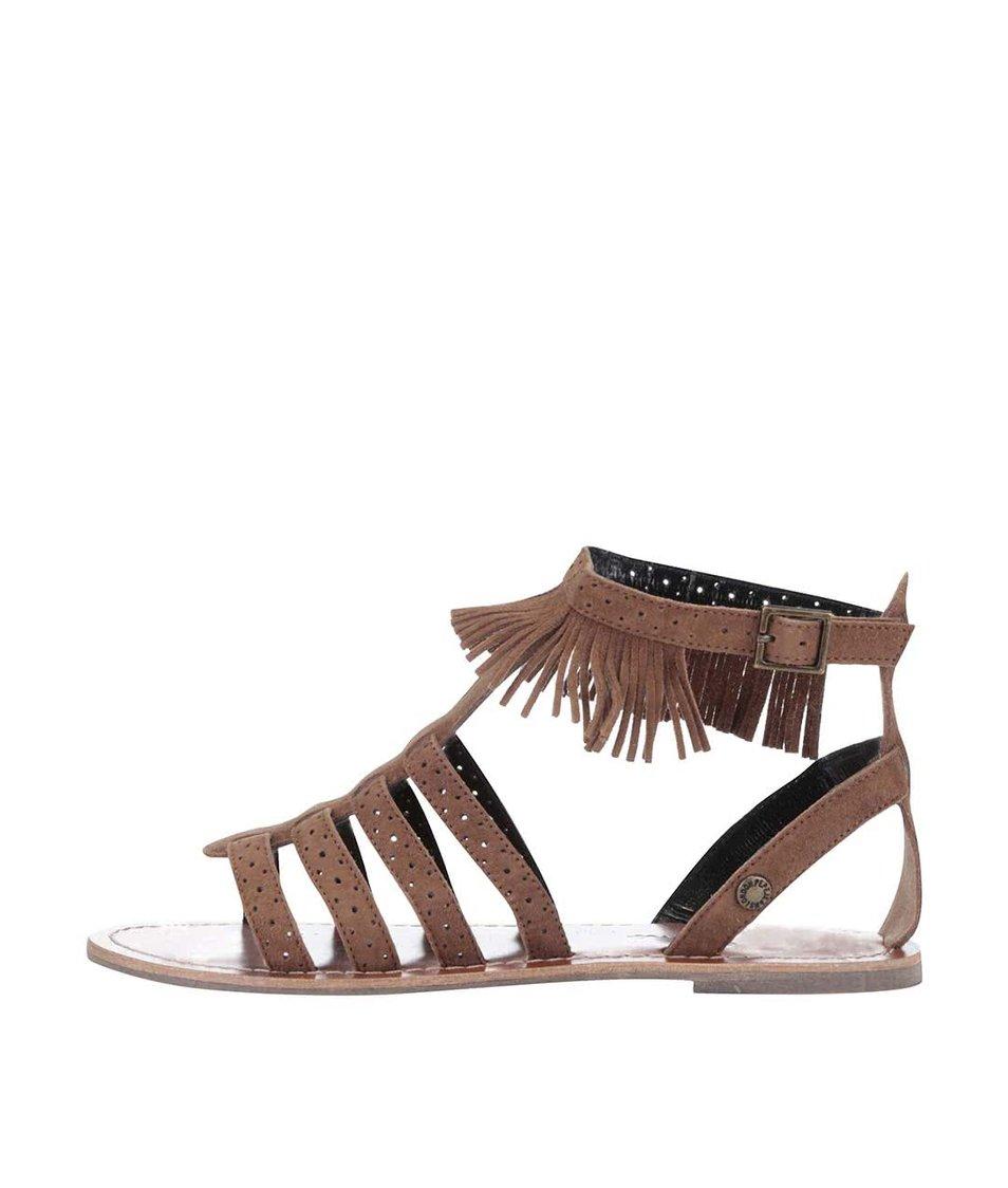 Hnědé dámské semišové sandálky s třásněmi Pepe Jeans