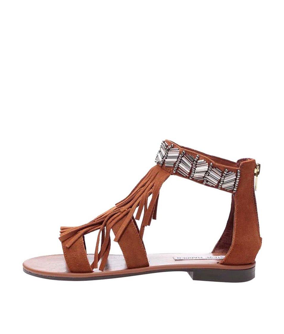 Hnědé semišové sandály s třásněmi Steve Madden Gianni