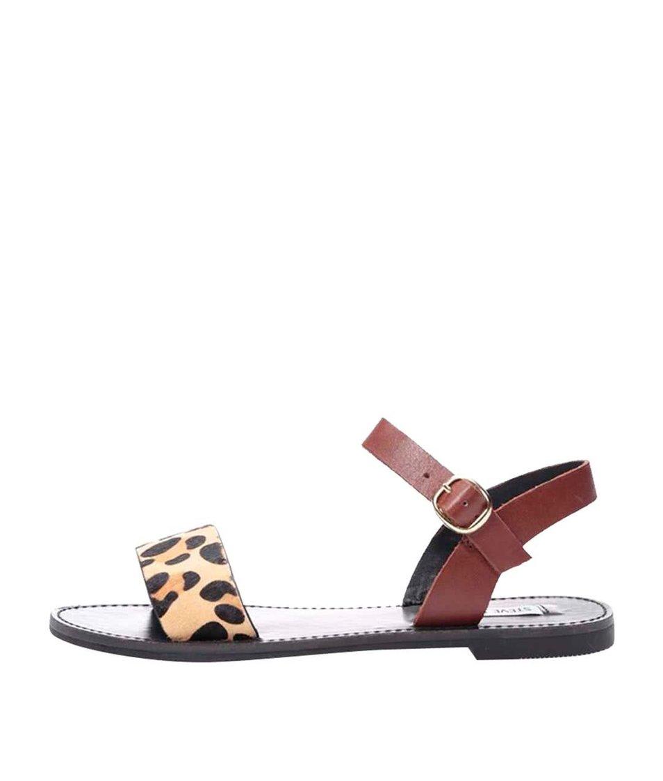 Kožené sandály s leopardím vzorem Steve Madden Donddi