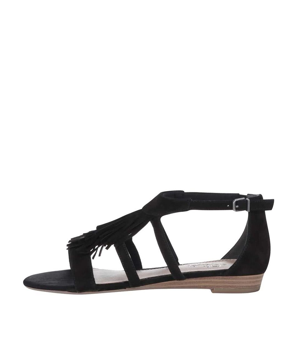 Černé semišové sandály s třásněmi s.Oliver