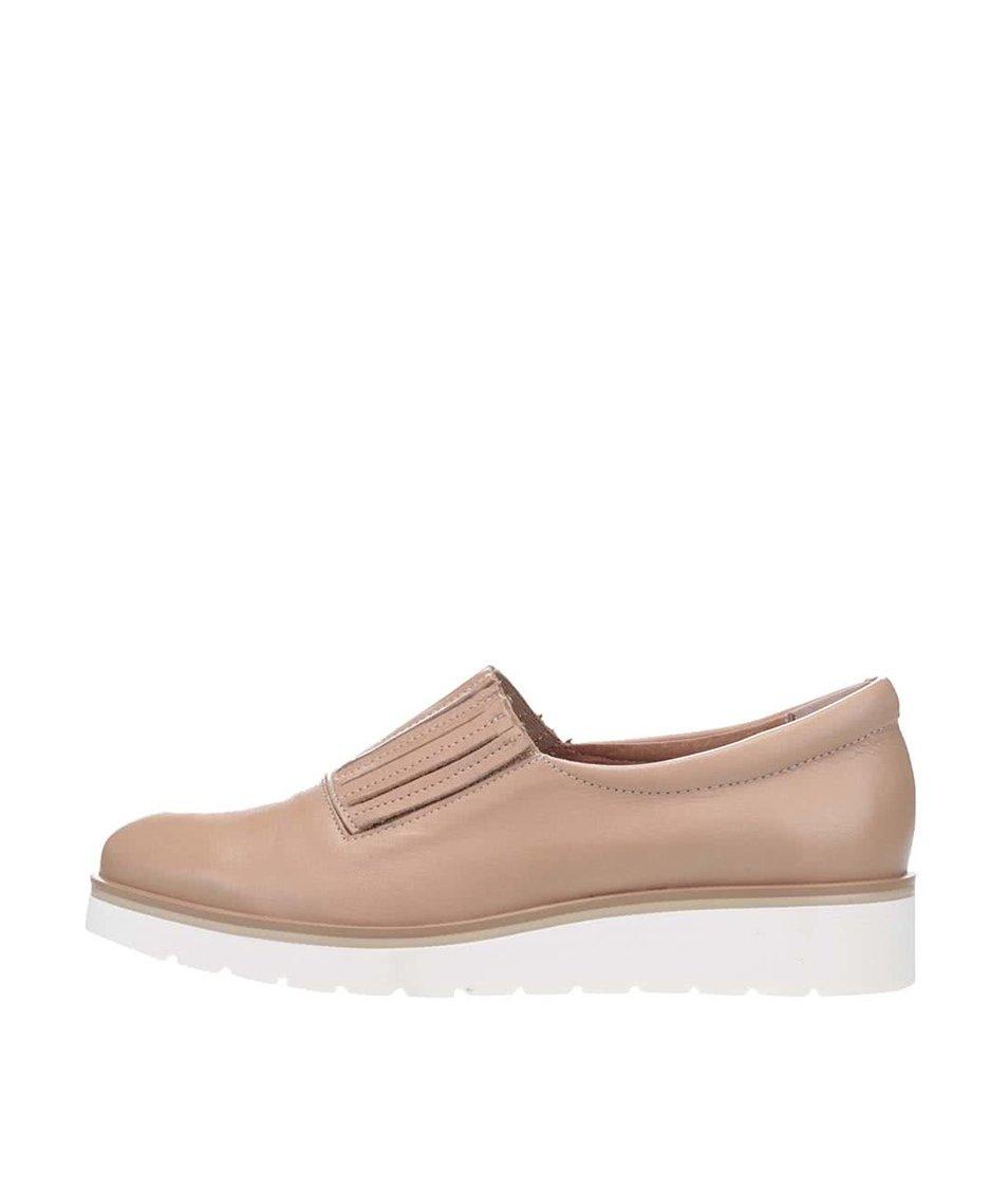 Béžové kožené loafers na bílé platformě OJJU