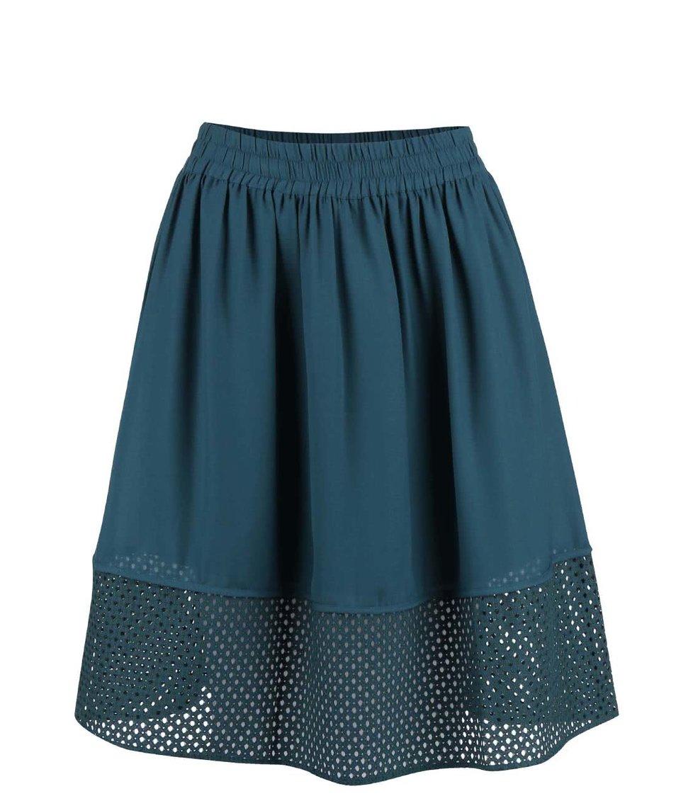 Petrolejová sukně s perforovaným lemem Vero Moda Thea
