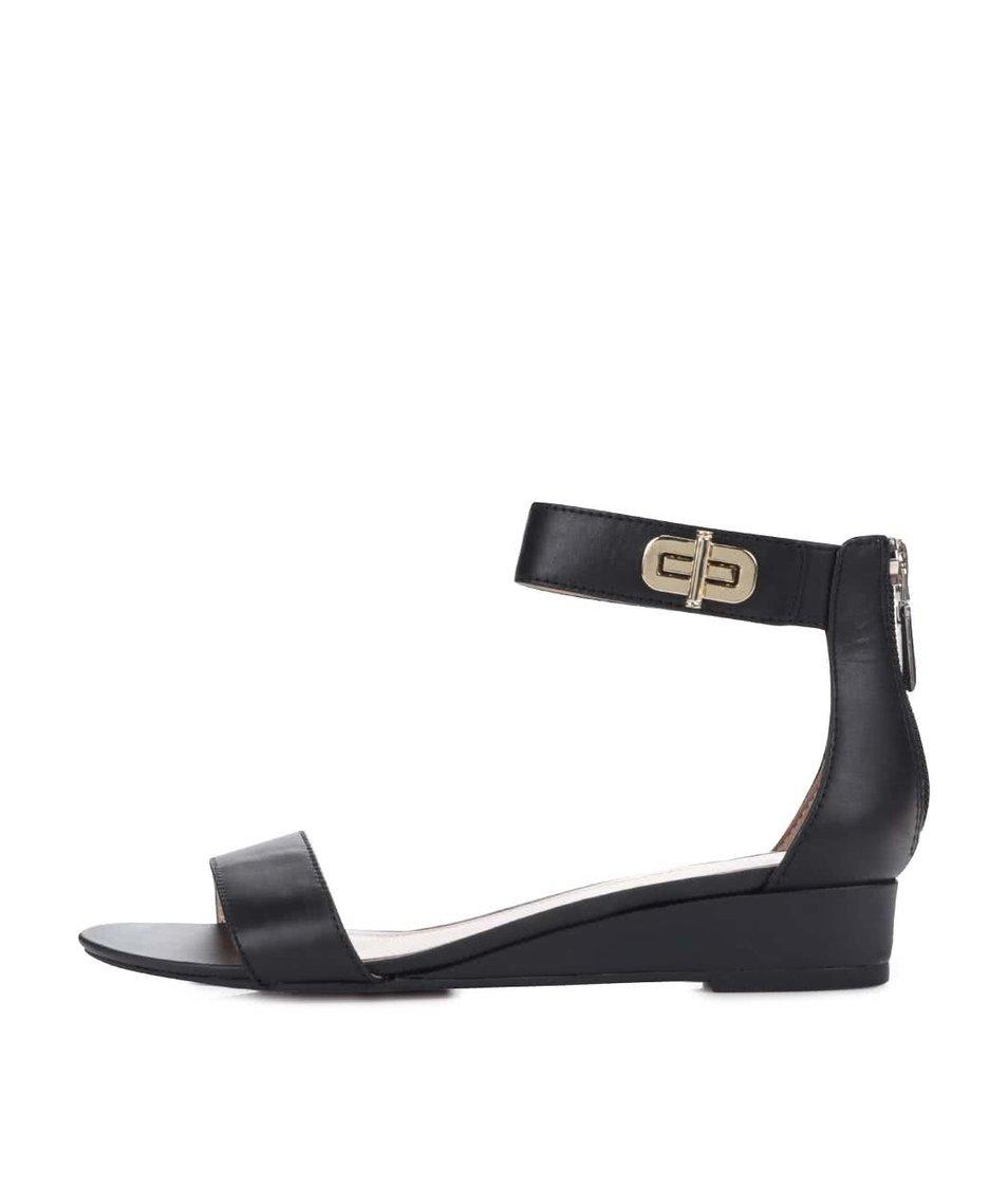Černé dámské kožené sandálky Tommy Hilfiger