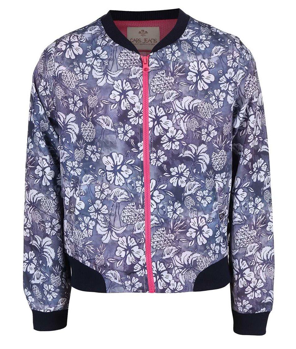 Šedomodrá holčičí bunda se vzorem květin Cars Jeans Allison