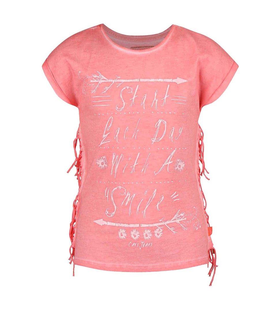 Korálové holčičí tričko s třásněmi Cars Jeans Bonny