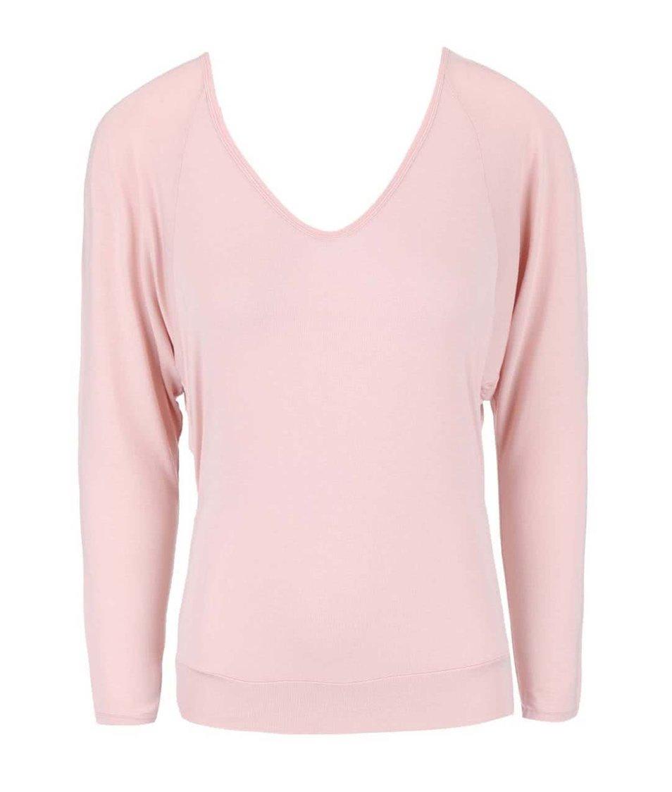 Světle růžové tričko s odhalenými zády DEHA