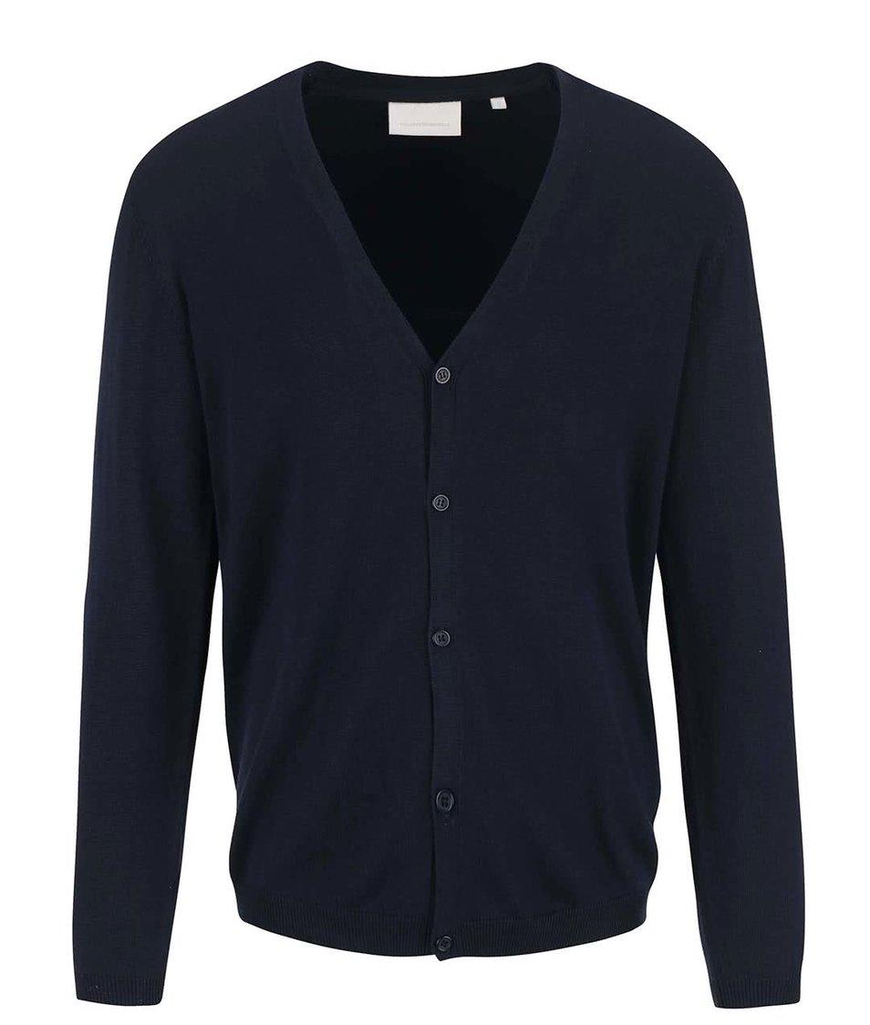 Tmavě modrý svetr na knoflíky Tailored & Originals Kensal