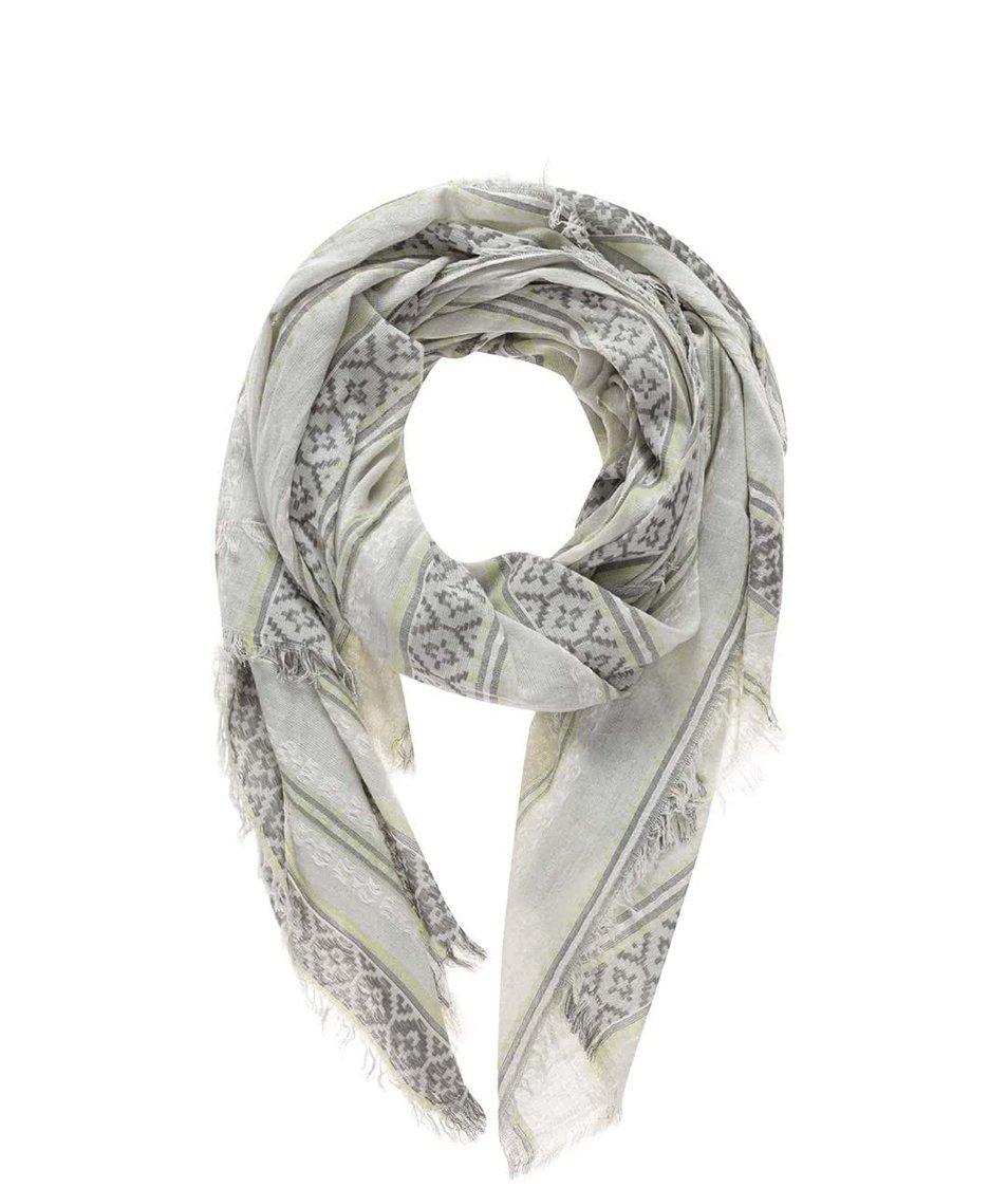 Zeleno-šedý šátek se vzorem Pieces Benja