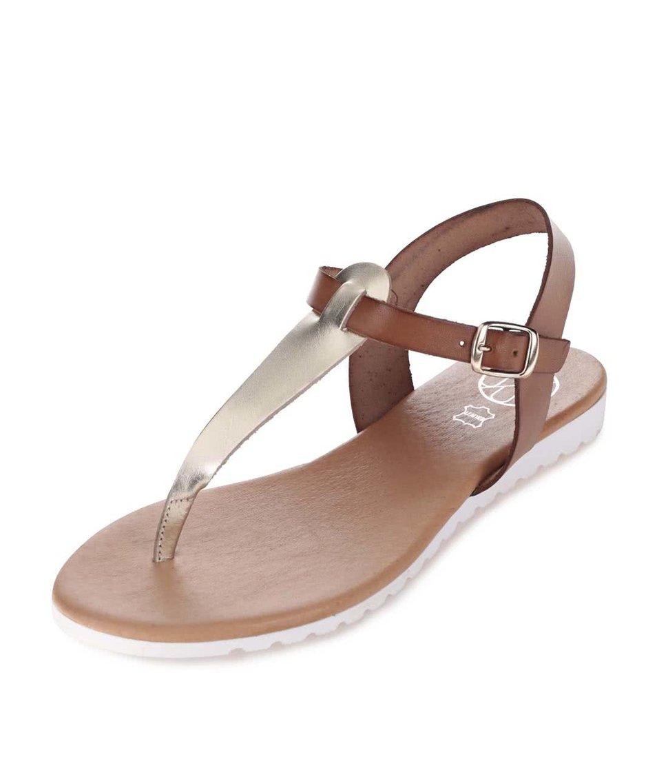 Zlato-hnědé kožené sandály OJJU