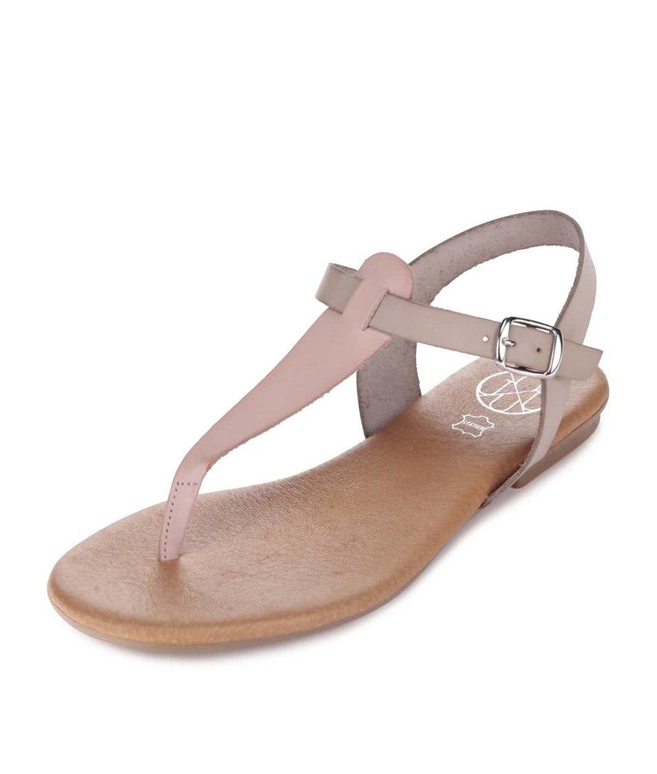 Růžovo-šedé kožené sandálky OJJU