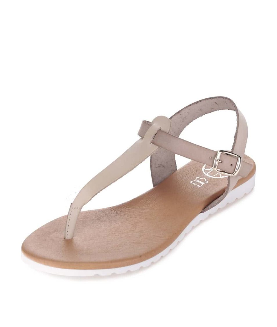 Béžovo-šedé kožené sandály OJJU