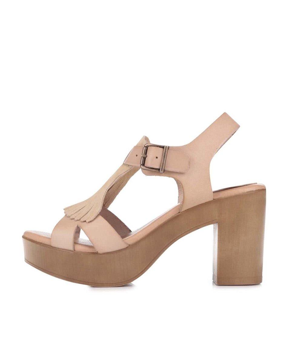 Světle hnědé kožené sandály na podpatku OJJU