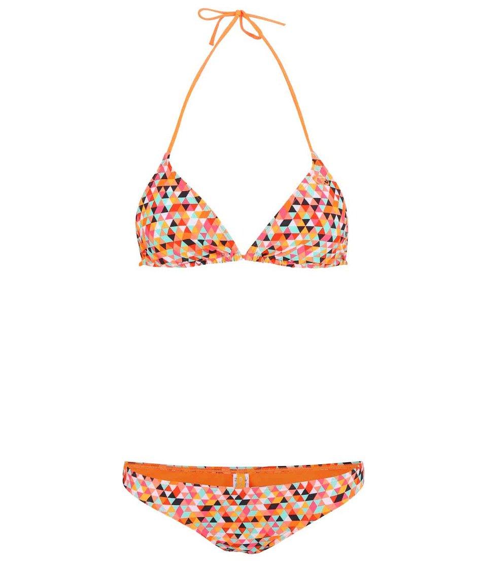 Neonově oranžové dvoudílné plavky s barevným vzorem Rip Curl Mezcal