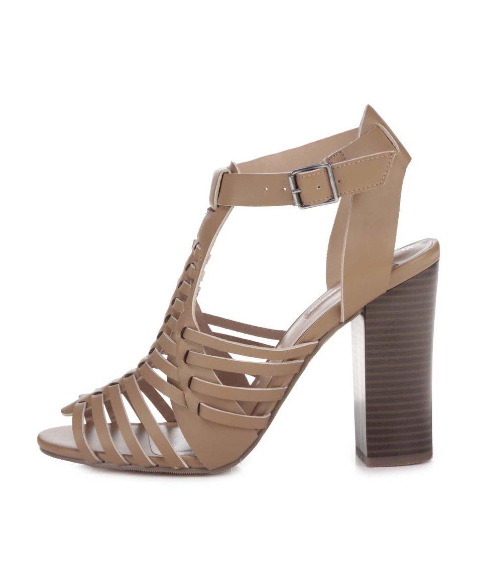 Béžové sandálky na podpatku Dorothy Perkins