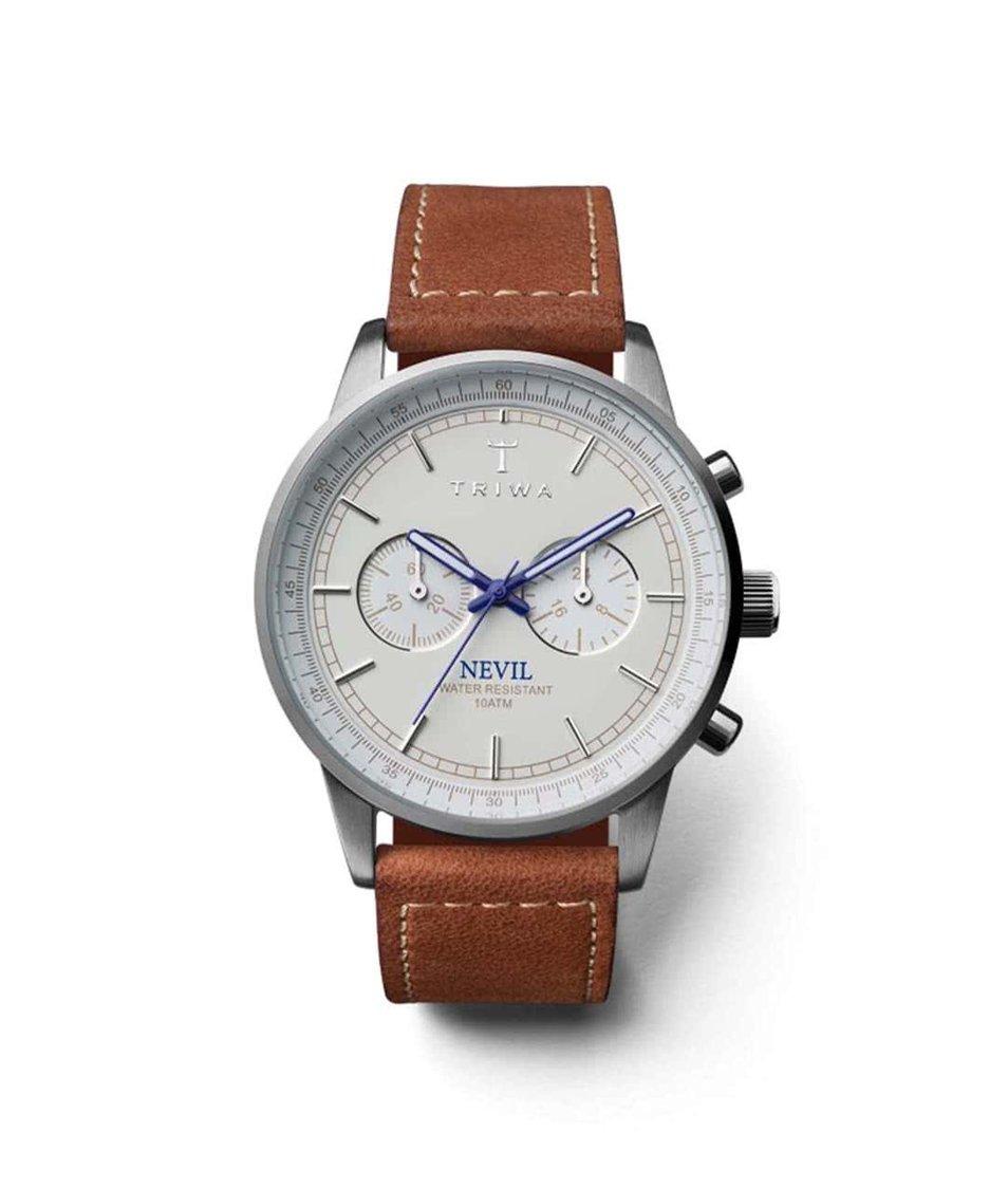Bílo-modré pánské kožené hodinky TRIWA Nevil