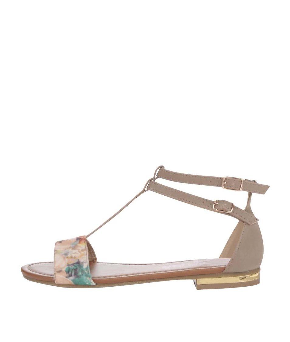 Šedé sandálky s květovaným motivem Refresh