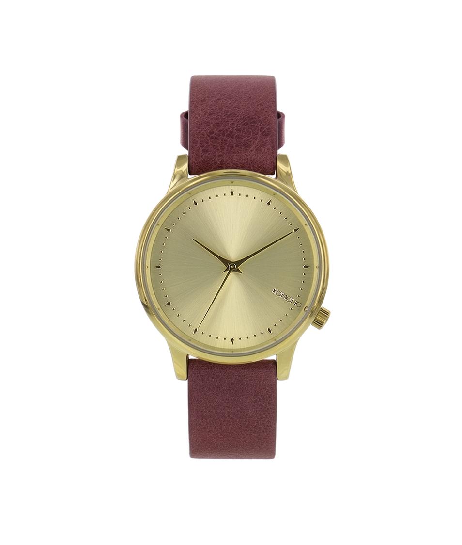 Červenohnědé kožené dámské hodinky Komono Estelle Lotus