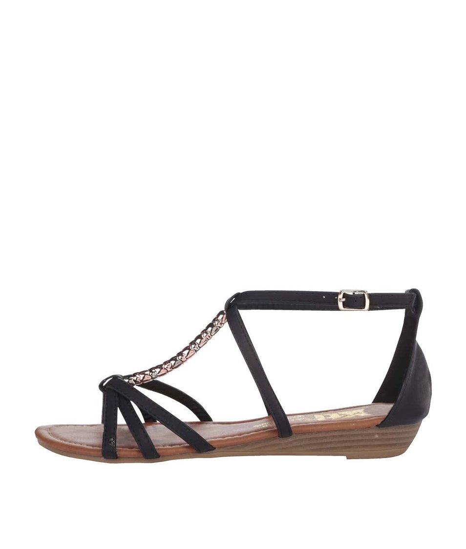 Černé sandálky s ozdobnou aplikací Xti