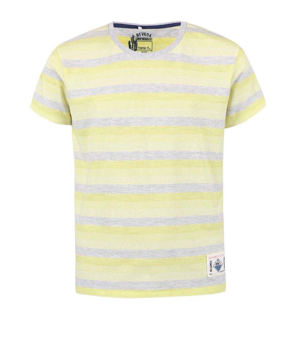 Šedo-žluté klučičí pruhované tričko name it Harald