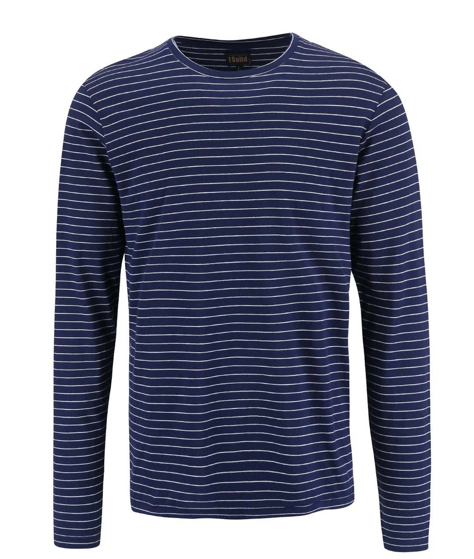 Bílo-modré pruhované triko s dlouhým rukávem !Solid Baldemar