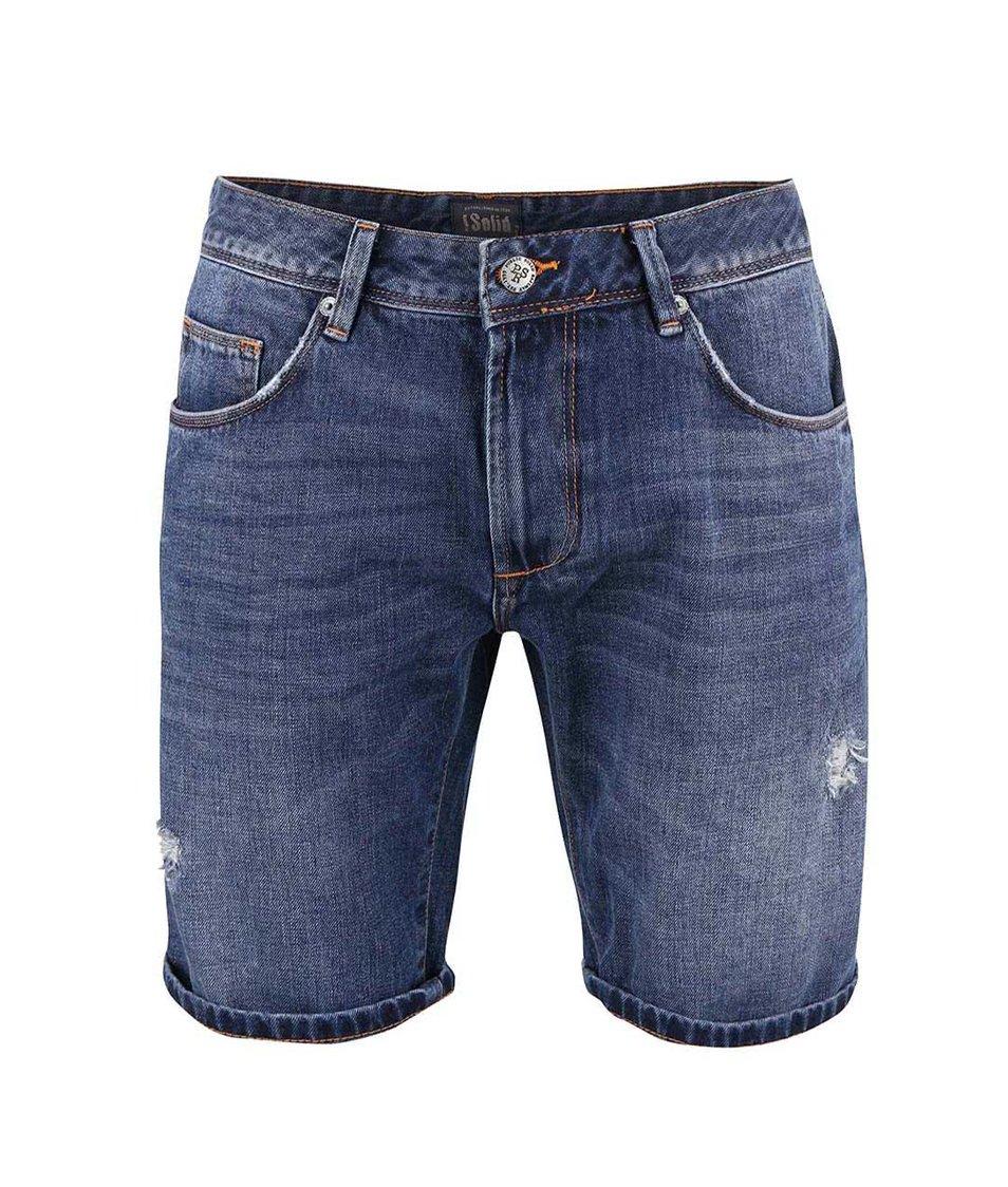 Modré džínové kraťasy regular fit s potrhanou aplikací !Solid Lt Roy