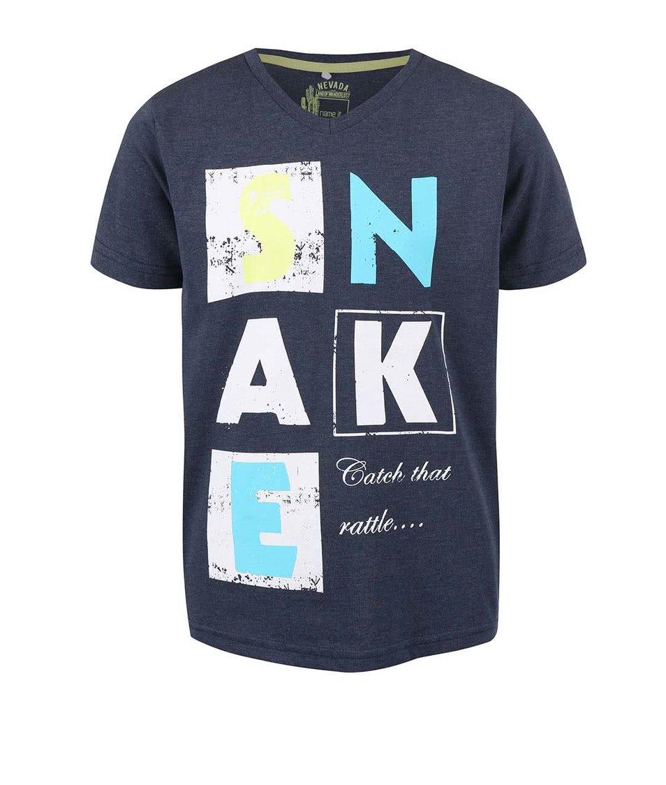 Tmavě modré klučičí tričko s nápisem name it Huffe