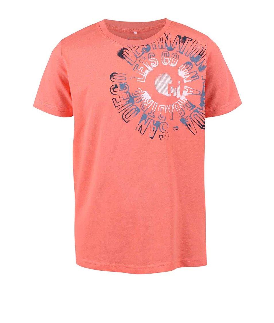 Růžové klučičí tričko s nápisem name it Victor