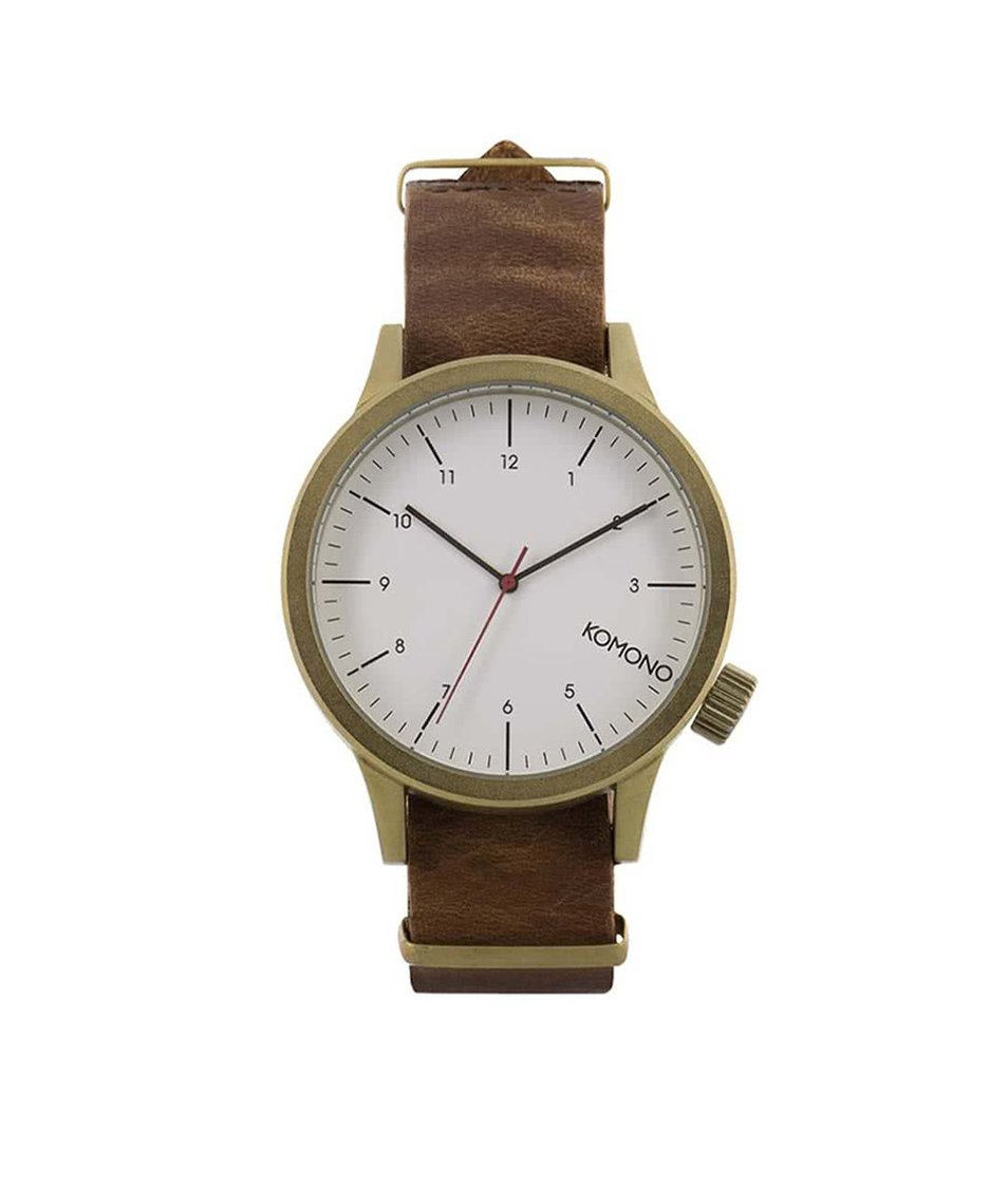 Hnědé kožené unisex hodinky s pozlacenou ocelí Komono Magnus