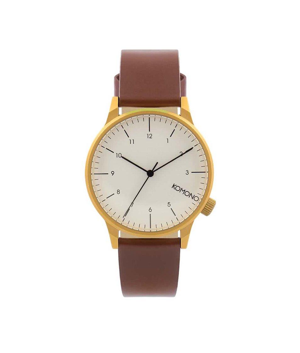 Hnědé pánské kožené hodinky s bílým ciferníkem Komono Winston Regal