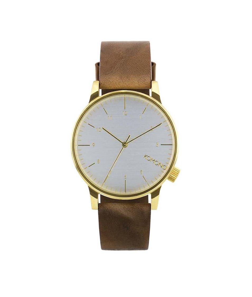 Tmavě hnědé pánské kožené hodinky s bílým ciferníkem Komono Winston Regal