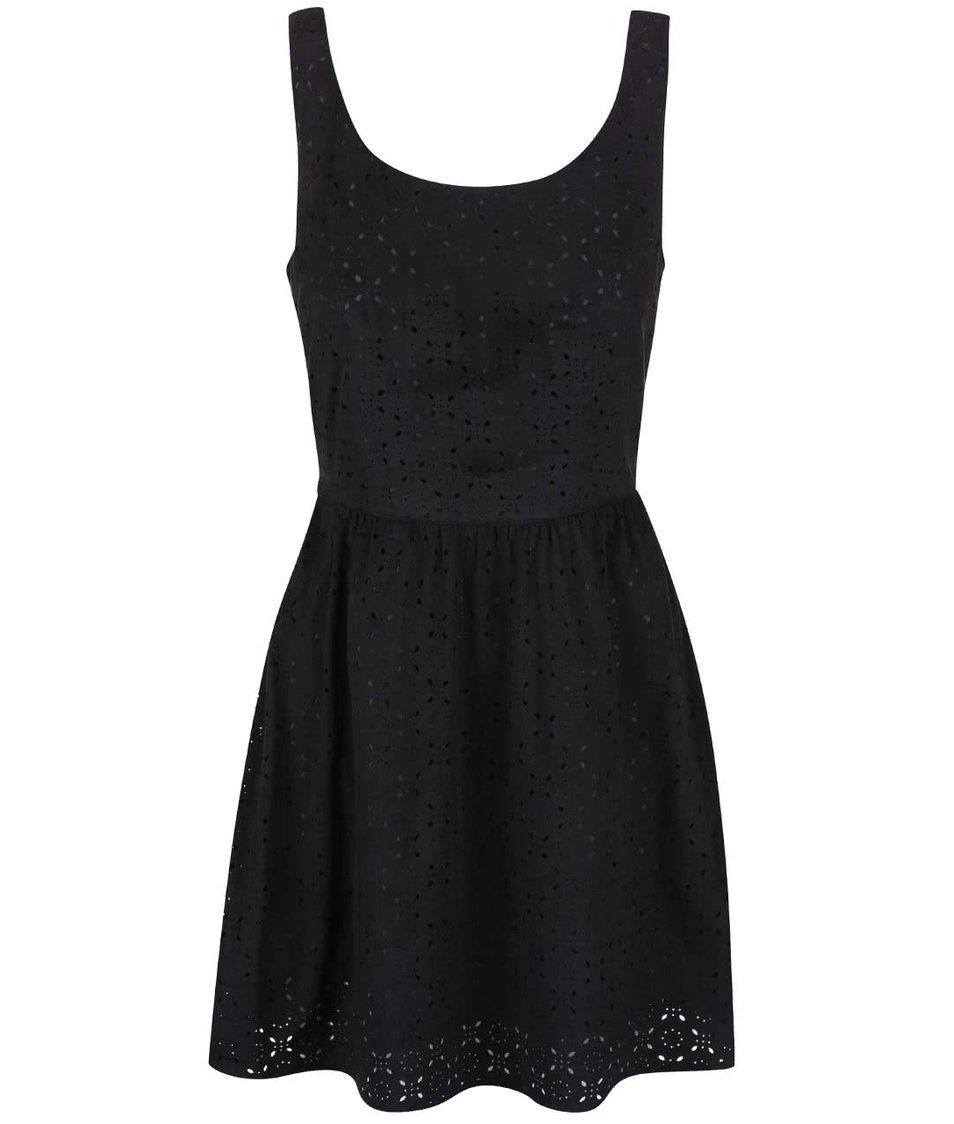 Černé šaty s perforovaným vzorem ONLY Lola