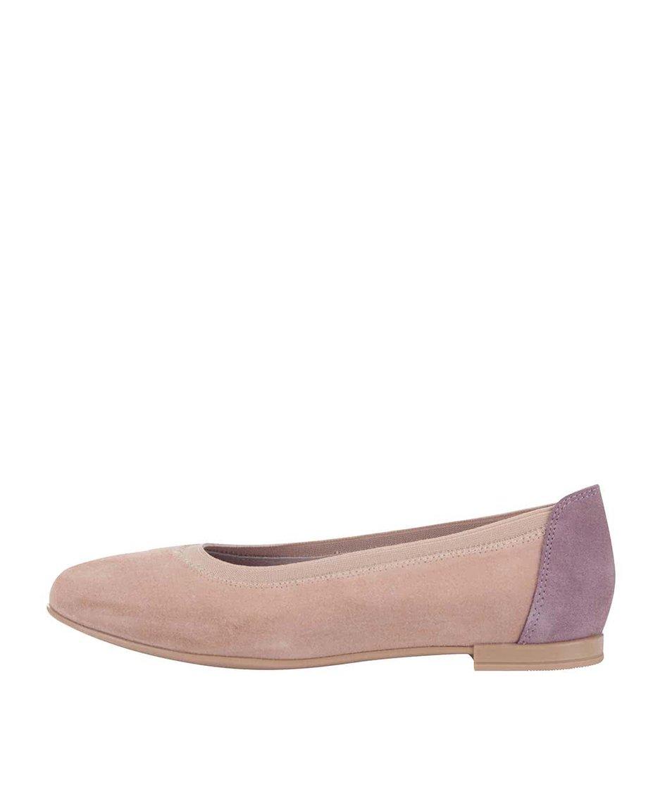 Fialovo-růžové kožené balerínky OJJU