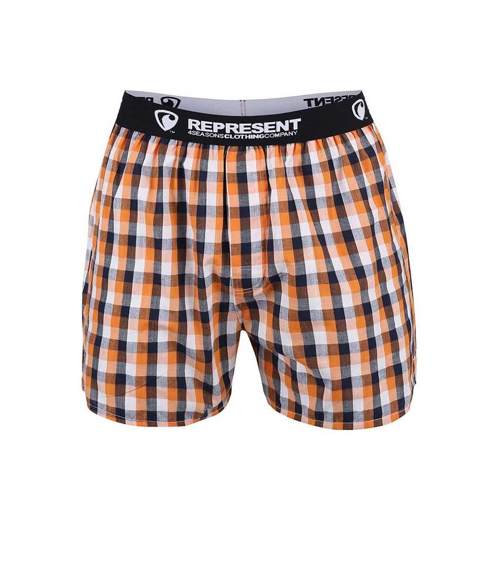 Modro-oranžové kostkované trenýrky Represent Mikebox