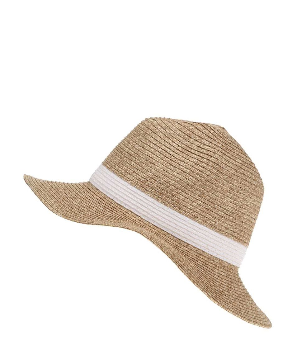 Slaměný klobouk s bílou stuhou Vero Moda Sofie