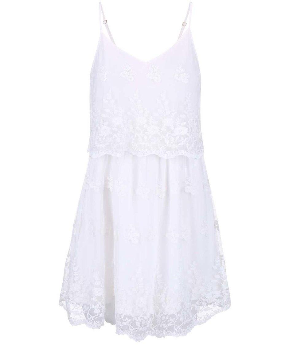 Bílé romantické krajkované šaty Vero Moda Kiki