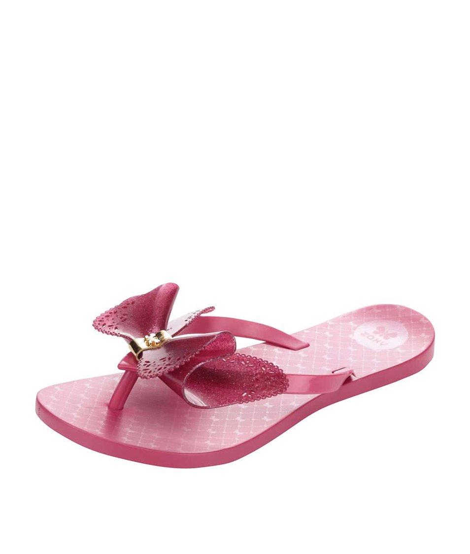 Růžové plastové žabky s mašlí Zaxy Fresh Butterfly