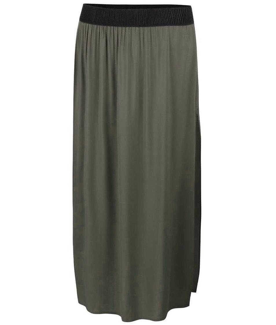 Zelenošedá dlouhá sukně s rozparkem Vero Moda Super Easy