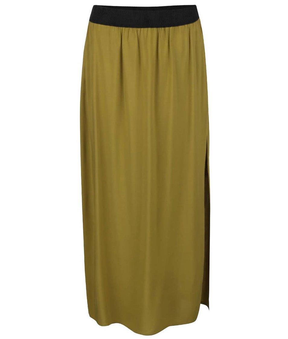 Hnědozelená dlouhá sukně s rozparkem Vero Moda Super Easy