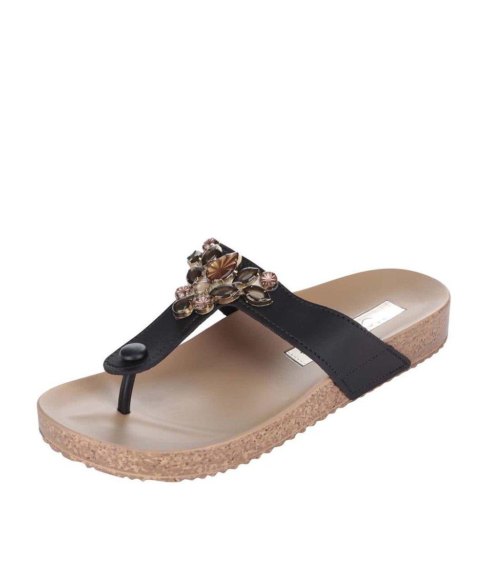 Černé pantofle se zdobením Grendha Essence Thong Fem