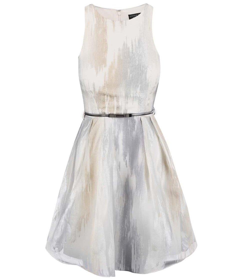 087c96f4b857 Bílo-šedé šaty s páskem Little Mistress - Akční cena