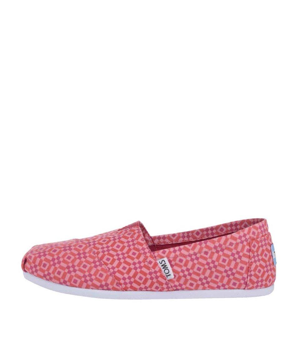 Červené dámské vzorované loafers TOMS Classic