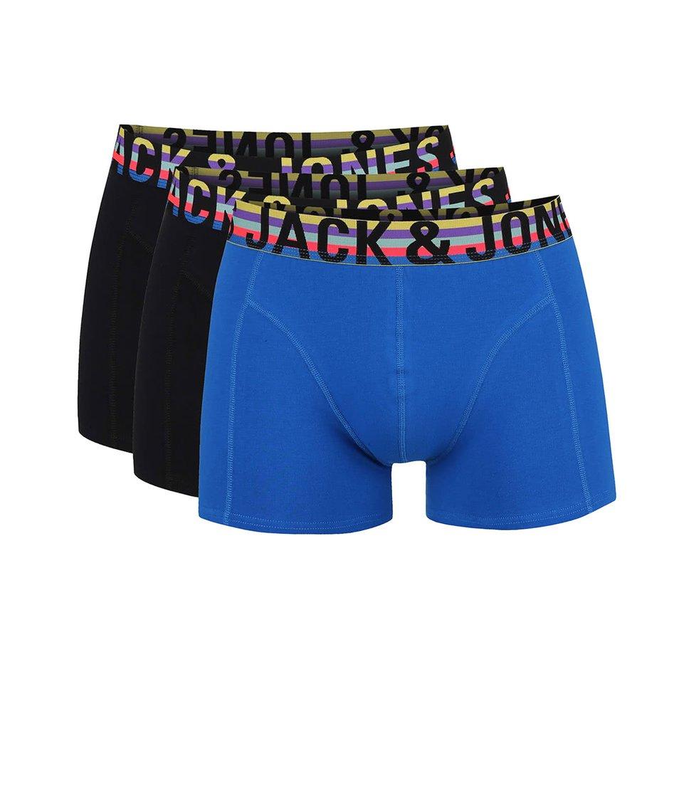 Sada tří modro-černých boxerek Jack & Jones Mix