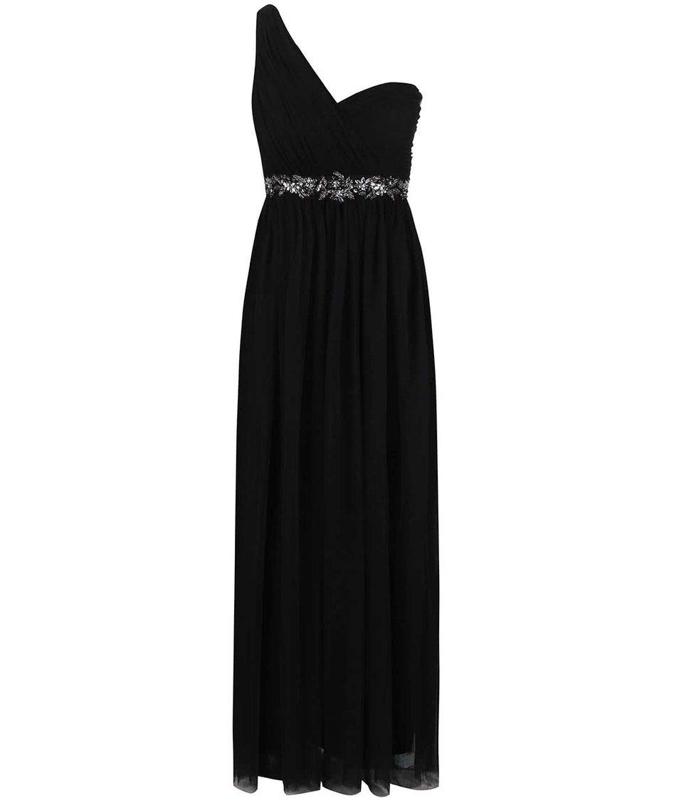 Černé dlouhé šaty s asymetrickým dekoltem Little Mistress